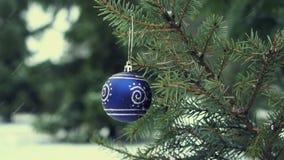 Bola azul en la rama del abeto, cámara lenta de la Navidad almacen de video