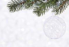 Bola brilhante bonita em um fundo do inverno Fotografia de Stock