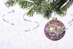 Bola brilhante bonita em um fundo do inverno Fotografia de Stock Royalty Free
