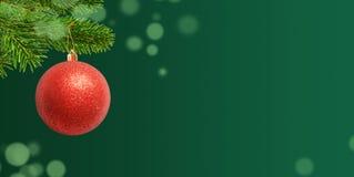 Bola brilhante vermelha para a árvore de Natal Fundo verde para o texto de cumprimento do feriado foto de stock
