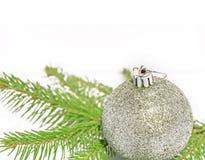 Bola brillante gris de la Navidad en árbol de pino verde en el fondo blanco Imagenes de archivo