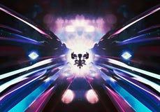 Bola colorida abstrata da energia da infinidade no feixes de luz coloridos ilustração royalty free