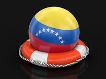 Bola con la bandera venezolana en salvavidas imagenes de archivo