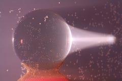 Bola cristalina en agua Imágenes de archivo libres de regalías