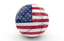 Bola da cesta com bandeira dos EUA: rendição 3D Imagens de Stock