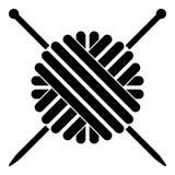 Bola da imagem simples do estilo liso da ilustração de cor do preto do ícone do fio de lãs e das agulhas de confecção de malhas ilustração do vetor