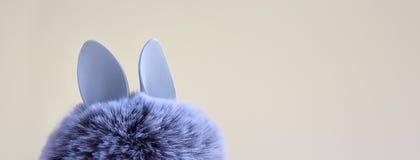 Bola da pele com as orelhas de coelho do coelho no fundo brilhante Conceito mínimo da Páscoa fotografia de stock royalty free