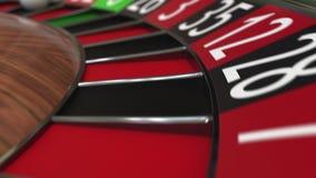 A bola da roda de roleta do casino bate o preto 15 quinze filme