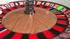 A bola da roda de roleta do casino bate o vermelho 30 trinta anima??o 3D video estoque