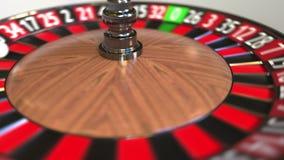A bola da roda de roleta do casino bate 27 vinte e sete vermelhos anima??o 3D vídeos de arquivo
