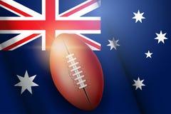 Bola de AFL e bandeira do australiano ilustração do vetor