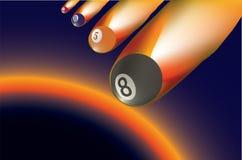 Bola de bilhar - meteorito ilustração stock