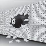 A bola de bilhar quebrou a parede ilustração stock
