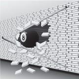 A bola de bilhar quebrou a parede ilustração do vetor