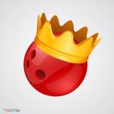 Bola de boliches com uma coroa dourada Fotografia de Stock
