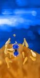 Bola de bolos azul que causa un crash en los contactos. 3d libre illustration