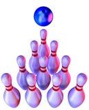 Bola de bowling que causa un crash en los bolos ilustración del vector