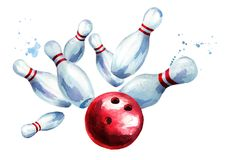 Bola de bowling que causa un crash en los contactos Ejemplo dibujado mano de la acuarela, aislado en el fondo blanco stock de ilustración