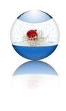 Bola de cristal con la bola de Navidad adentro Imagen de archivo