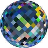 Bola de cristal 3d no fundo branco isolado Vislumbrar o teste padrão verde amarelo azul do mosaico de vidro ilustração stock