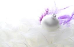 Bola de cristal de la Navidad en plumas Imagen de archivo libre de regalías