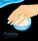 Bola de cristal em uma mão fêmea predição ilustração stock