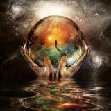 Bola de cristal en manos de dios libre illustration