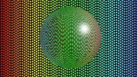 Bola de cristal que se mueve en el fondo punteado arco iris, 3d animación, esfera transparente que duplica el ambiente ilustración del vector