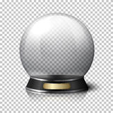 Bola de cristal realística transparente do vetor para caixas de fortuna no fundo da manta com reflexão ilustração do vetor