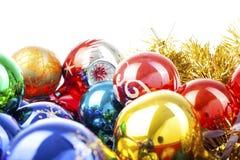 Bola de cristal real de la textura de la bola de la chuchería de la Navidad Las bolas de las chucherías de la Navidad, celebran d Fotos de archivo