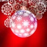 Bola de cristal transparente de la Navidad con los copos de nieve. ilustración del vector