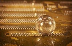 Bola de cristal y detalle de la PC Fotografía de archivo