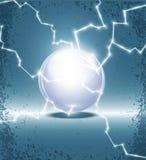 Bola de cristal y relámpago abstractos ilustración del vector