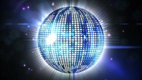 Bola de discoteca azul brillante que hace girar alrededor stock de ilustración