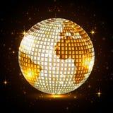Bola de discoteca de oro del planeta Ilustración del Vector