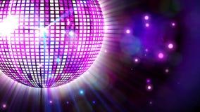 Bola de discoteca púrpura brillante que hace girar alrededor libre illustration