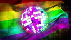 Bola de discoteca que gira con la bandera del orgullo gay ilustración del vector