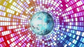 Bola de discoteca que hace girar y que brilla con las luces stock de ilustración