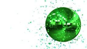 Bola de discoteca verde de giro del resplandor integrada por cubo-cristales ilustración del vector