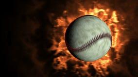 Bola de fuego del béisbol que vuela a la cámara almacen de video