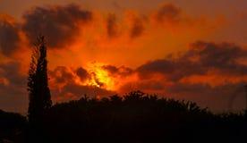 Bola de fuego en el cielo Foto de archivo