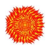 Bola de fuego en un fondo blanco Círculo de la llama Illustra del vector Imágenes de archivo libres de regalías