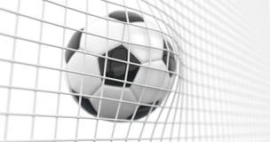 A bola de futebol bonita voa na rede do objetivo no movimento lento Animação do futebol 3d do momento do objetivo no fundo branco ilustração stock
