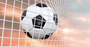 A bola de futebol bonita voa na rede do objetivo no movimento lento Animação do futebol 3d do momento do objetivo animação 4K filme