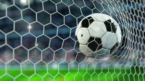 A bola de futebol bonita voa na rede do objetivo no movimento lento Animação 4k do futebol 3d ilustração stock