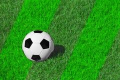 Bola de futebol clássica branca e preta na grama de prado verde fresca, espaço da cópia para o texto, futebol do conceito Fotos de Stock Royalty Free