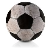 Bola de futebol, clássico, sujo e usada - bola clássica do futebol - bola de futebol clássica usada e suja no illustrat branco do Foto de Stock Royalty Free