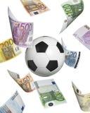 Bola de futebol com as euro- cédulas isoladas no branco Imagem de Stock Royalty Free