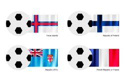 Bola de futebol com a bandeira de Ilhas Faroé, de Finlandia, de Fiji e de França Foto de Stock