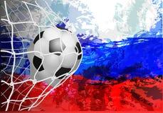 Bola de futebol com a bandeira de Rússia Vector a ilustração o fundo do campeonato do mundo de FIFA do estádio Rússia 2018 ilustração stock